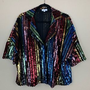 LPA Sequin Rainbow Button Down Top 🌈
